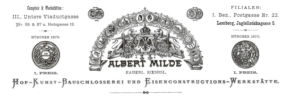 Original letter head of Imperial and Royal Court, Artistic Wrought Iron Smith and Construction Fitter and Iron Dessign Enegineer ALBERT MILDE, 1877