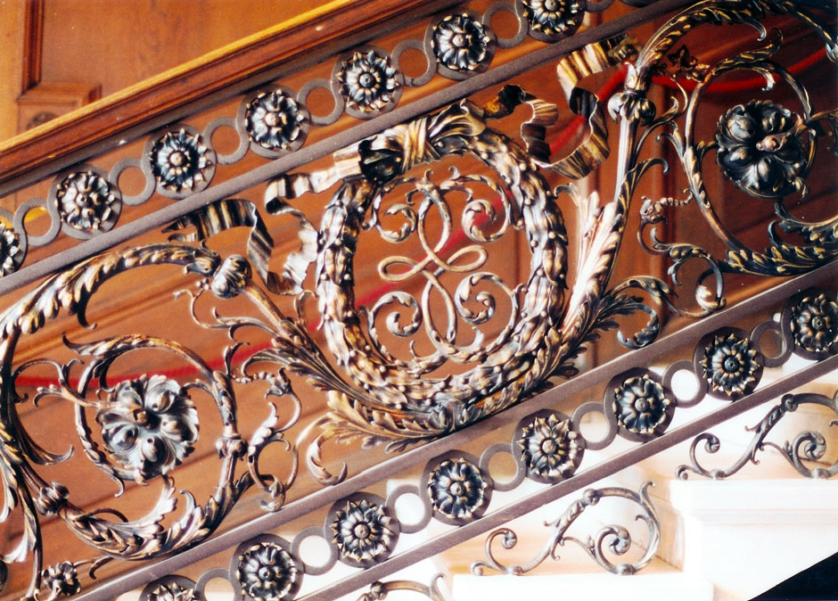 Details of the stair railing in the staircase