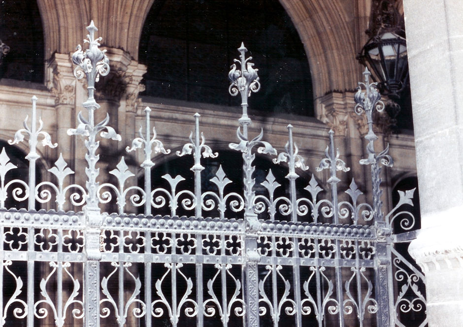 Detailed left lattice gate of the city hall entrance