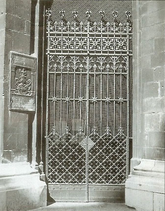 Wrought-iron lattice gate of the south tower's entrance at the St. Stephen's Cathedral in Vienna